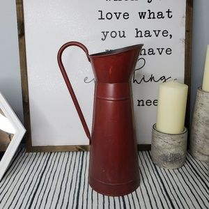 Rustic Farmhouse Chic Red Distressed Pitcher Vase